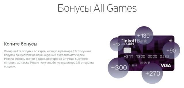 За что начисляется кэшбэк на карту Тинькофф All Games